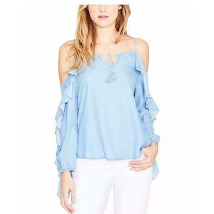 Rachel Roy Cold Shoulder Blue Shirt Top sz S NWT